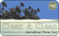 Clear & Clean international prepaid phone card