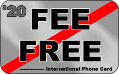 Fee Free international prepaid phone card