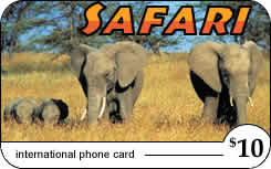 STI Safari international prepaid phone card