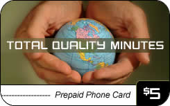 Total Quality Minutes international prepaid phone card